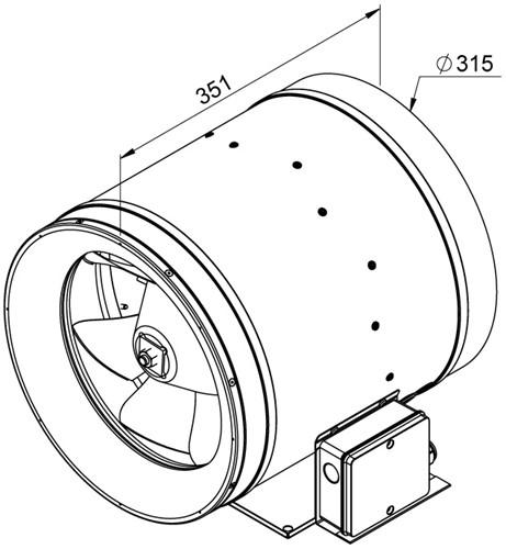 Ruck ETALINE E buisventilator 3510m³/h - Ø 315 mm (EL 315 E2 01)-2