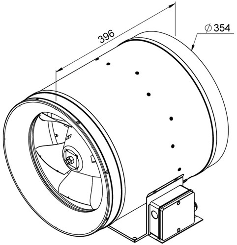 Ruck ETALINE E buisventilator 2580m³/h - Ø 355 mm (EL 355 E4 01)-2