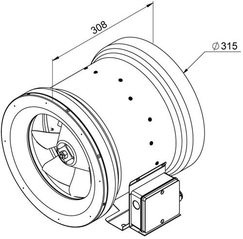 Ruck ETALINE E buisventilator 2360m³/h - Ø 315 mm (EL 315 E2 03)-2