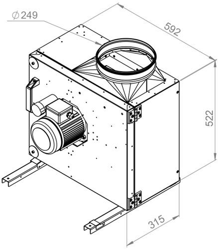 Ruck boxventilator met spanningsregeling en motor buiten de luchtstroom 2490 m³/h (MPS 250 E2 20)-2