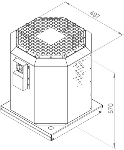 Ruck dakventilator voor keukenafzuiging tot 120°C  - 3100 m³/h - (DVN 280 E2 20)-2