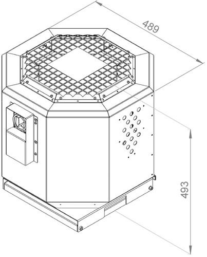 Ruck geluiddempende dakventilator voor keukenafzuiging tot 120°C  - 1990 m³/h - (DVNI 250 E2 20)-2