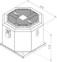 Ruck geluiddempende dakventilator voor keukenafzuiging tot 120°C  - 6130 m³/h - (DVNI 450 E4 20)-2