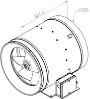 Ruck ETALINE E buisventilator 3360m³/h - Ø 315 mm (EL 315 E2 10)-2