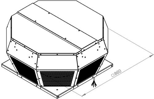 Ruck metalen dakventilator met EC motor en apparaatschakelaar 6230m³/h (DHA 450 ECP 30)-2