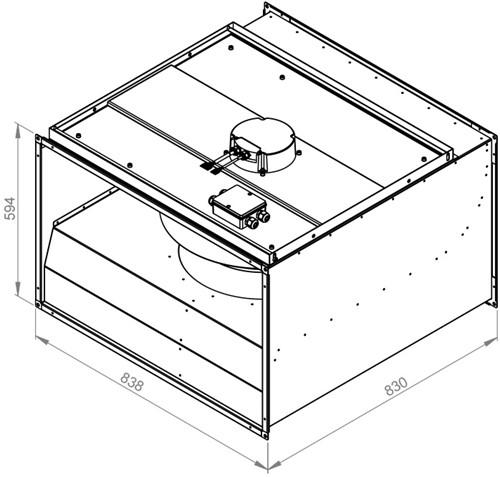Ruck ongeïsoleerde kanaalventilator EC-motor 9550m³/h - 800x500 (KVR 8050 EC 30)-2