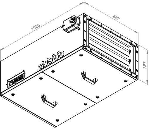 Ruck toevoer luchtbehandelingskast met regeling - DV koeler 1785m³/h - 600x300 (SL 6030 E3J 22 10)