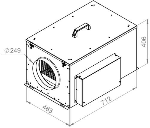 Ruck compacte luchttoevoerunit met verwarmingsbatterij en EC-motor 1240m³/h - Ø250 (FFH 250 EC 10)-2