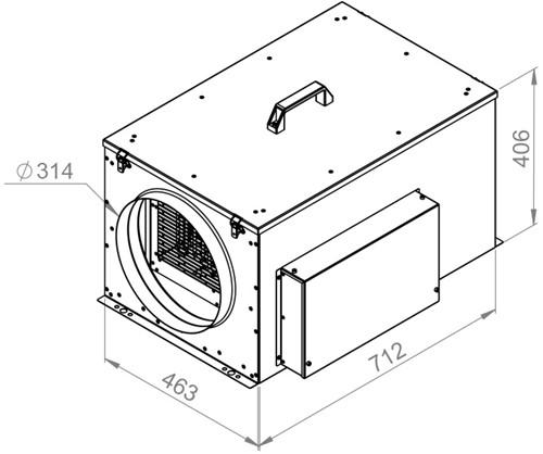 Ruck compacte luchttoevoerunit met verwarmingsbatterij en EC-motor 1270m³/h - Ø315 (FFH 315 EC 10)-2