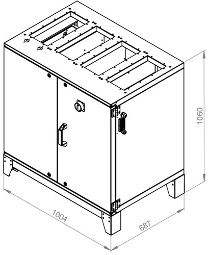 Ruck ETA luchtbehandelingskast met tegenstroom en PWW verwarmer 770m³/h (ETA K 600V WO JR)-2