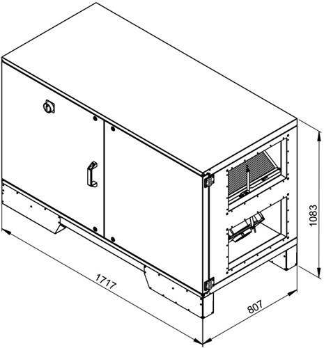 Ruck ETA luchtbehandelingskast met tegenstroom en PWW verwarmer - links - 1500m³/h (ETA K 1200H WO JL) -2