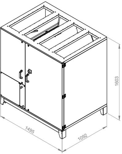 Ruck ROTO-V luchtbehandelingskast met warmtewiel 3760m³/h (ROTO K 2800 V WOJL)