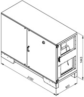 Ruck ETA luchtbehandelingskast met tegenstroom en PWW verwarmer - rechts - 3005m³/h (ETA K 2400H WO JR)