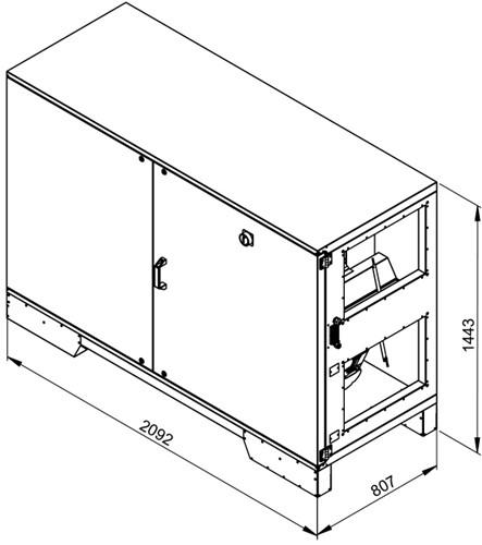 Ruck ETA luchtbehandelingskast met tegenstroom en elektrisch warmteregister - rechts - 2950m³/h (ETA K 2400H EO JR) -2