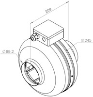 Technische tekening RS buisventilator 100