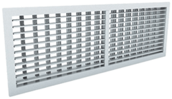 Wandrooster aluminium dubbelvoudig instelbaar - met klemveren - 500x150