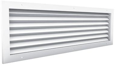 Doorvoerrooster aluminium zichtdicht - met tegenkader en schroefgaten - 600x300 (AF981)