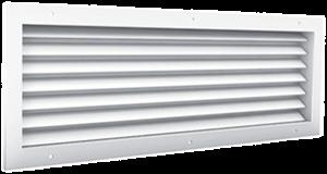 Doorvoerrooster aluminium zichtdicht met tegenkader en schroefbevestiging