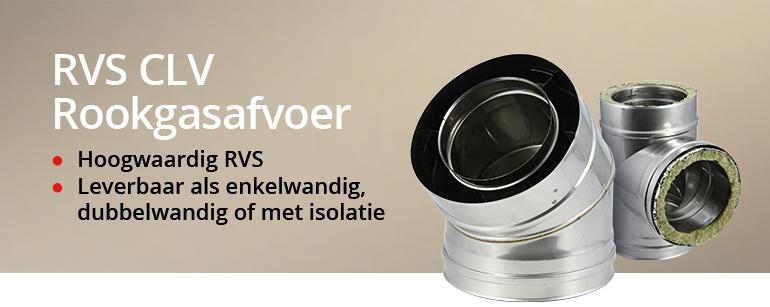RVS CLV rookgasafvoeren; enkelwandig, dubbelwandig of met isolatie