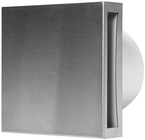Badkamerventilator 100 mm RVS met Timer en Vochtsensor- Design EET100HTi