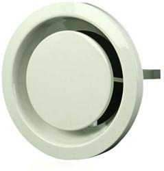 Retourventiel metaal Ø 100 mm wit met klemveren (EFF100)