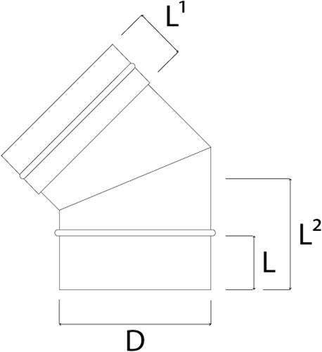 EW diameter  130 mm bocht 45 gr I316L (D0,5)-2