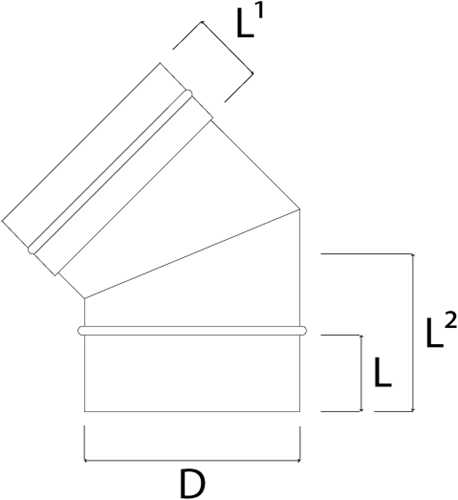 EW diameter  200 mm bocht 45 gr I316L (D0,5)-2