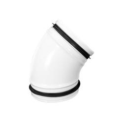 Spiro-SAFE gladde bocht wit 125mm 45 graden RAL9010  (staal)