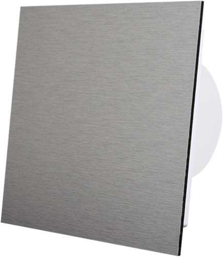 Badkamer ventilator diameter 100 mm met Trekkoord en Stekker - front geborsteld aluminium