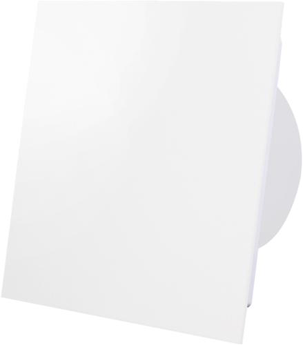 Badkamer ventilator diameter 100 mm met Timer en Vochtsensor - front mat wit glas