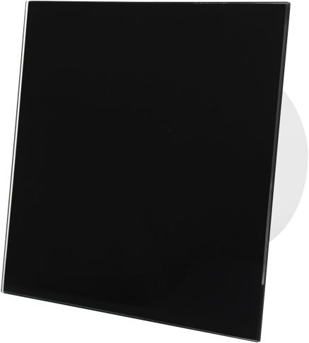 Badkamer ventilator diameter 100 mm met Trekkoord en Stekker - front zwart glas