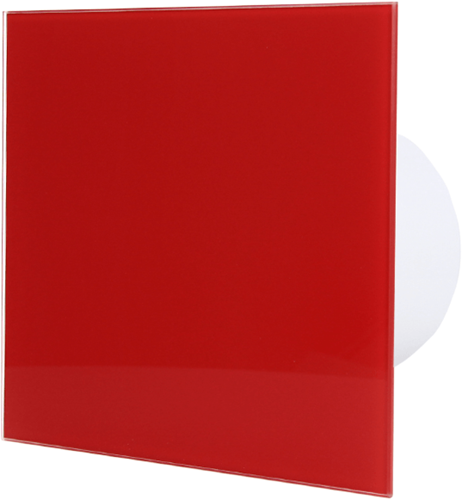 Badkamer ventilator diameter 100 mm met Timer en Vertraagde start - front rood glas