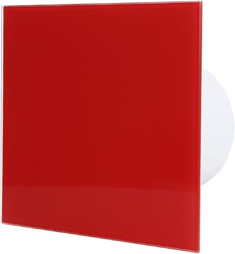 Badkamer ventilator diameter 125 mm met Timer en Vochtsensor - front rood glas