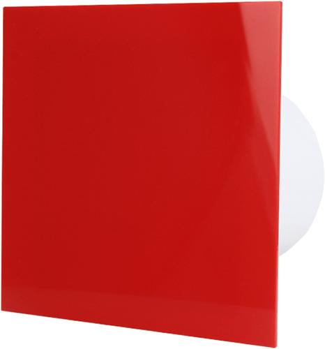 Badkamer ventilator diameter 100 mm met Trekkoord en Stekker - kunststof front rood