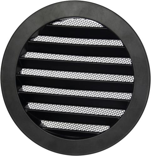 Aluminium buitenlucht muur rooster rond - Ø 150mm - ZWART (DSAV150B)