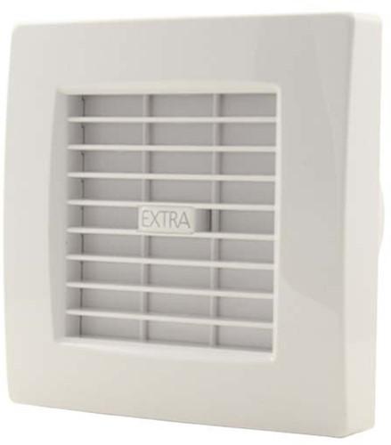 Badkamerventilator 100 mm Wit met automatische sluitklep en timer - luxe X100ZT