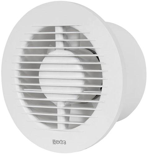 Badkamer ventilator rond diameter: 125 mm WIT met TIMER en VOCHTSENSOR - EA125HT