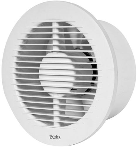 Badkamer ventilator rond diameter: 150 mm WIT met TIMER en VOCHTSENSOR - EA150HT