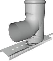 Bocht met schoorsteensteun half CLV Ø80