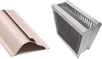 Aluminium druppelvanger met kunststof schoepprofiel B=500 x H=500
