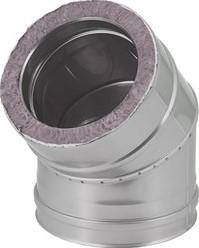 DW diameter  250 mm (250/300) bocht 45 gr I316L/I304 (D0,5/0,6)