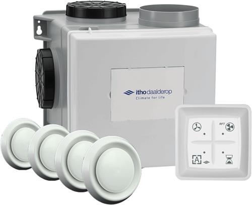 Itho Daalderop CVE-S eco fan ventilator box alles-in-1 pakket SP 325m3/h + vochtsensor + RFT auto + 4 ventielen - perilex stekker