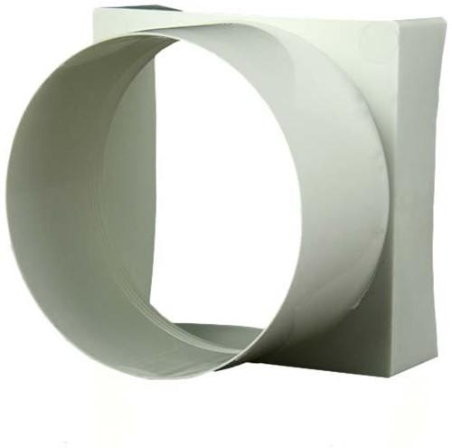 Kunststof verloopstuk vierkant naar rond 100x100 mm /diameter: 100