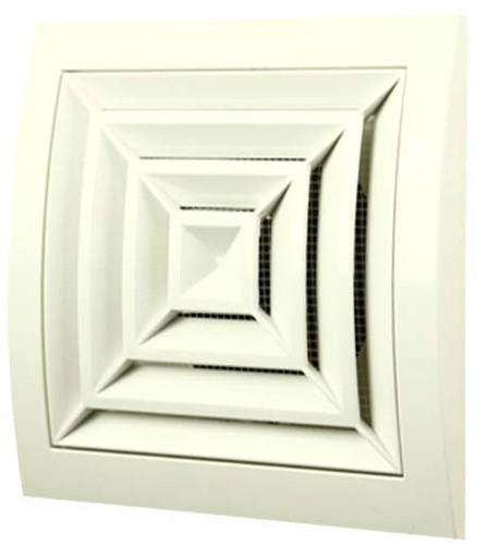 Plafondrooster kunststof 150mm x 150mm Ø 100mm wit vierkant (ND10G)