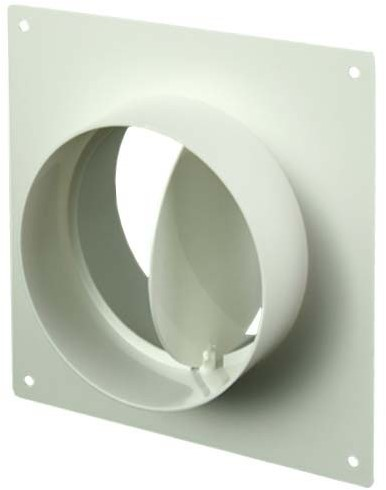 Ronde kunststof muurplaat met terugslagklep diameter: 100mm