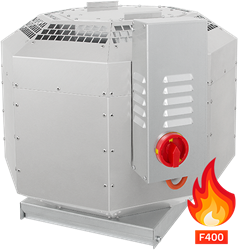 Ruck geïsoleerde rookgas-dakventilator tot 200°C constant en 400°C tot 120 min - 3795 m³/h - DVNI 315 D2 F4 30