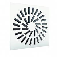 Wervelrooster vierkant met instelbaar luchtpatroon en geïsoleerd plenum zijaansluiting